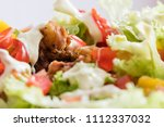 small chicken slices with salad ... | Shutterstock . vector #1112337032