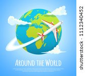 flying around the world. travel ... | Shutterstock .eps vector #1112340452