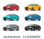 set of cars. collection sedan... | Shutterstock .eps vector #1112346692