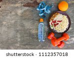 concept healthy food and sports ... | Shutterstock . vector #1112357018
