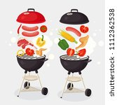 portable round barbecue with...   Shutterstock .eps vector #1112362538