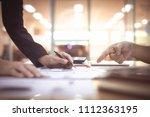close up hands of engineer... | Shutterstock . vector #1112363195