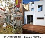 construction of a new facade in ... | Shutterstock . vector #1112370962