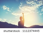 copy space of man rise hand up... | Shutterstock . vector #1112374445