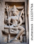 Small photo of Carved idol on the inner wall of the Kanchi Kailasanathar temple, is the oldest structure, it is a Hindu temple in the Dravidian architectural style Kanchipuram, Tamil Nadu, India
