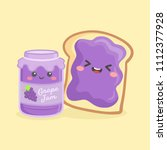 cute grape jelly jam bottle jar ...   Shutterstock .eps vector #1112377928