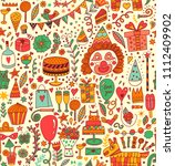 seamless pattern with party...   Shutterstock .eps vector #1112409902