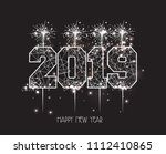 new years 2019 polygonal line... | Shutterstock .eps vector #1112410865