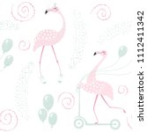 flamingo on scooter cute happy...   Shutterstock .eps vector #1112411342