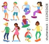 skateboarders on skateboard... | Shutterstock .eps vector #1112422628