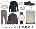 collage of men's clothes on... | Shutterstock . vector #1112423012