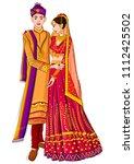 indian bride and groom in... | Shutterstock .eps vector #1112425502