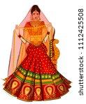 beautiful indian bride in... | Shutterstock .eps vector #1112425508