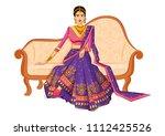 beautiful indian bride in... | Shutterstock .eps vector #1112425526
