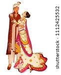 indian bride and groom in... | Shutterstock .eps vector #1112425532