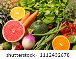assorted fruit and vegetable   Shutterstock . vector #1112432678