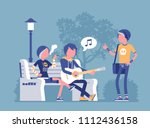 emo hanging out. young members... | Shutterstock .eps vector #1112436158