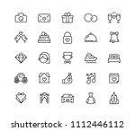 wedding vector icon set in line ... | Shutterstock .eps vector #1112446112
