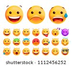 set of cute emoticons on white... | Shutterstock .eps vector #1112456252