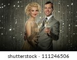 retro couple with glasses of... | Shutterstock . vector #111246506