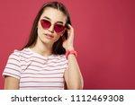 beautiful woman glamor pink... | Shutterstock . vector #1112469308