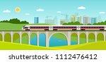 train on railway and bridge... | Shutterstock .eps vector #1112476412