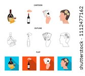 bottle  a glass of wine and... | Shutterstock .eps vector #1112477162