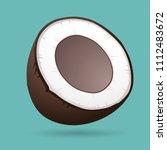 vector coconut cut in half... | Shutterstock .eps vector #1112483672