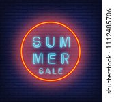 summer sale neon text in circle.... | Shutterstock .eps vector #1112485706