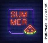 summer neon text in frame with... | Shutterstock .eps vector #1112485736