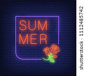 summer neon text in frame with... | Shutterstock .eps vector #1112485742