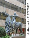 Small photo of LONDON, UNITED KINGDOM - NOVEMBER 24, 2013: Equestrian Statue King Edgar of England at Devonshire Square in London, United Kingdom.