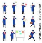 set of graduate students... | Shutterstock .eps vector #1112497205