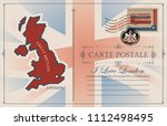 retro postcard with map and... | Shutterstock .eps vector #1112498495