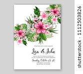 tropical summer floral wedding... | Shutterstock .eps vector #1112503826