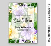 tropical summer floral wedding... | Shutterstock .eps vector #1112503946