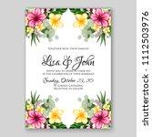 tropical summer floral wedding... | Shutterstock .eps vector #1112503976