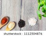 red pepper and yeast flaken on... | Shutterstock . vector #1112504876