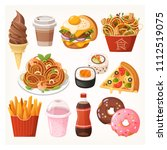 fresh delicious fast food... | Shutterstock .eps vector #1112519075