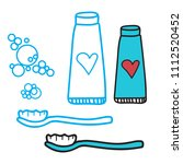 cleaning teeth set of... | Shutterstock .eps vector #1112520452