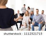 female business trainer giving... | Shutterstock . vector #1112521715
