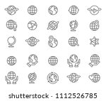 simple set of thin line globe... | Shutterstock .eps vector #1112526785
