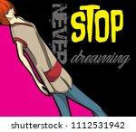 stylish fashion model. pretty... | Shutterstock .eps vector #1112531942