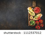 grilled chicken breast with... | Shutterstock . vector #1112537012