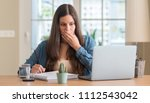 young student woman studying at ...   Shutterstock . vector #1112543042