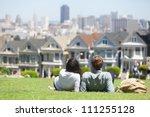 san francisco   alamo square... | Shutterstock . vector #111255128