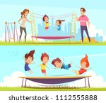 set of two horizontal jumping... | Shutterstock .eps vector #1112555888