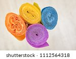 top view of four rolls of multi ... | Shutterstock . vector #1112564318