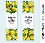 lemon banner vector drawing.... | Shutterstock .eps vector #1112569808