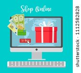 shop online concept with red... | Shutterstock . vector #1112582828